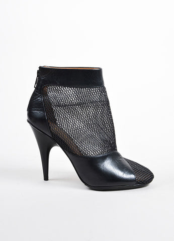 3.1 Phillip Lim Black Mesh Leather Cone Heel Ankle Boots Sideview