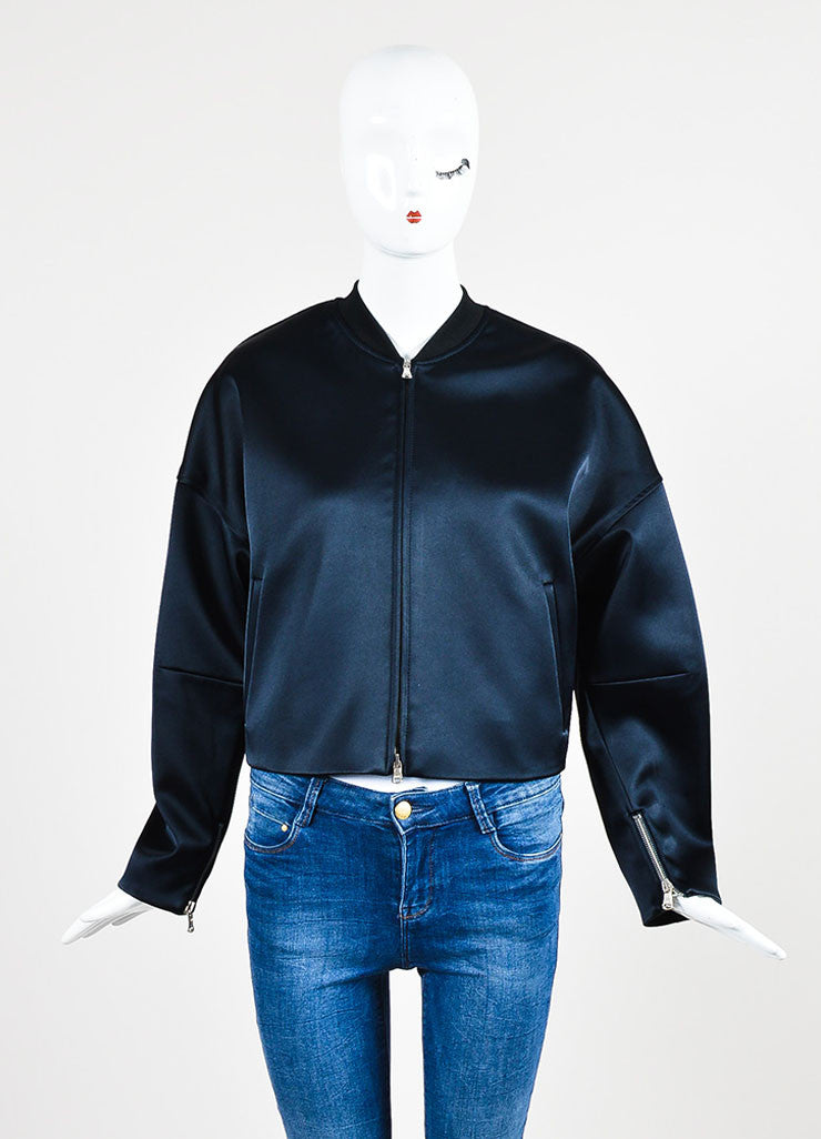 3.1 Phillip Navy Satin Double Layered Bomber Coat and Vest Bomber