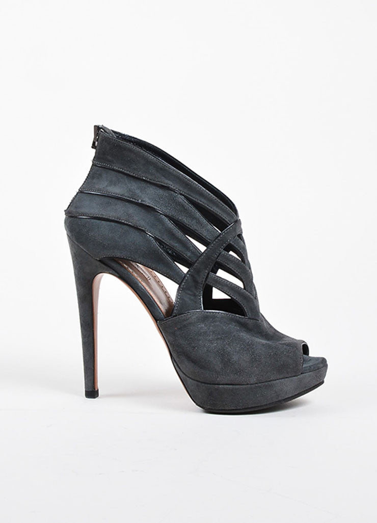 Alaia Grey Suede Cut Out Platform Peep Toe Sandal Heels Sideview