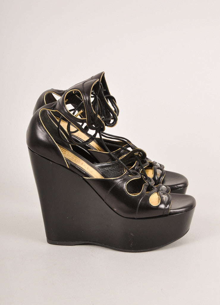 Alexander McQueen Black and Gold Leather Lace Up Glossy Platform Wedges Sideview