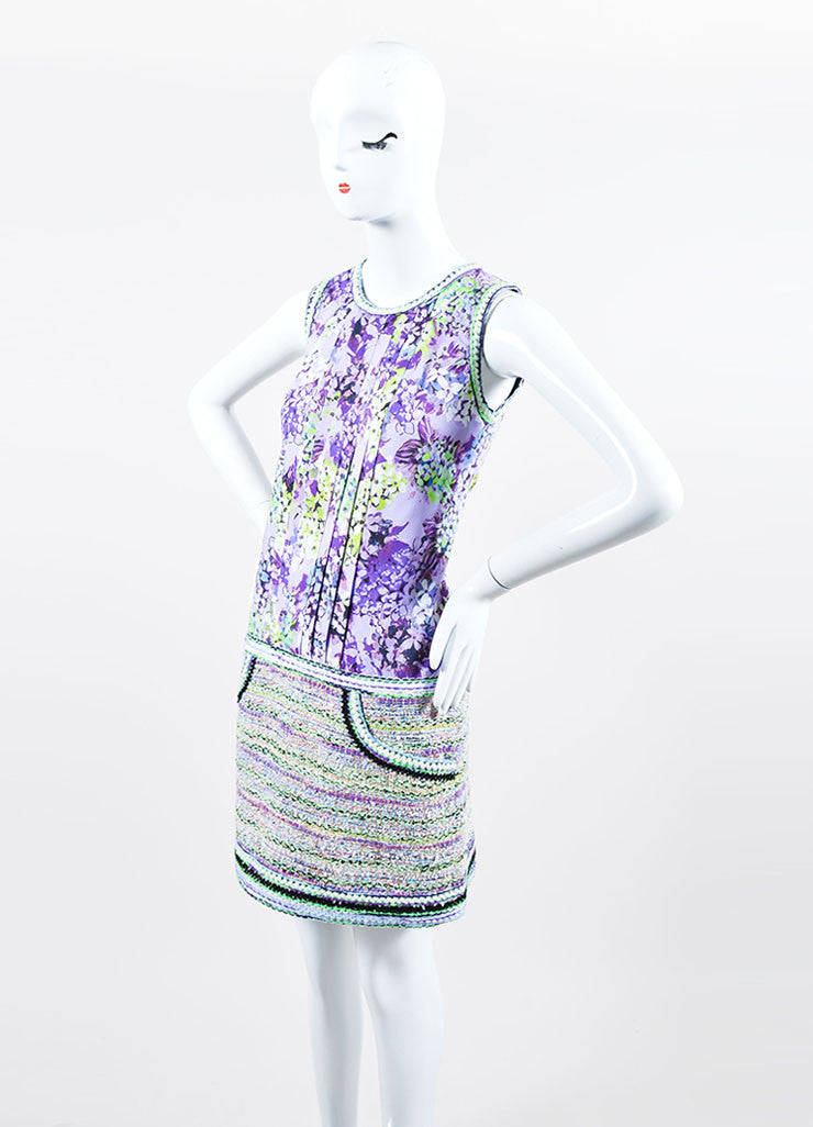 """Lilac"" Purple and Lime Green Andrew Gn Floral Print and Woven Dress Sideview"