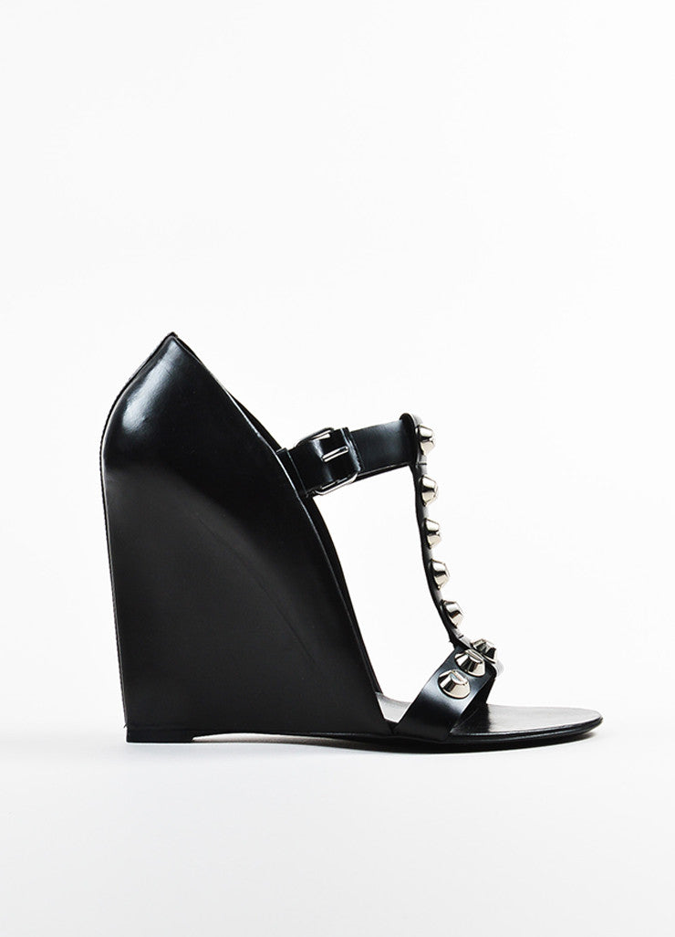 Balenciaga Black Leather Studded Wedge T-Strap Sandals Sideview