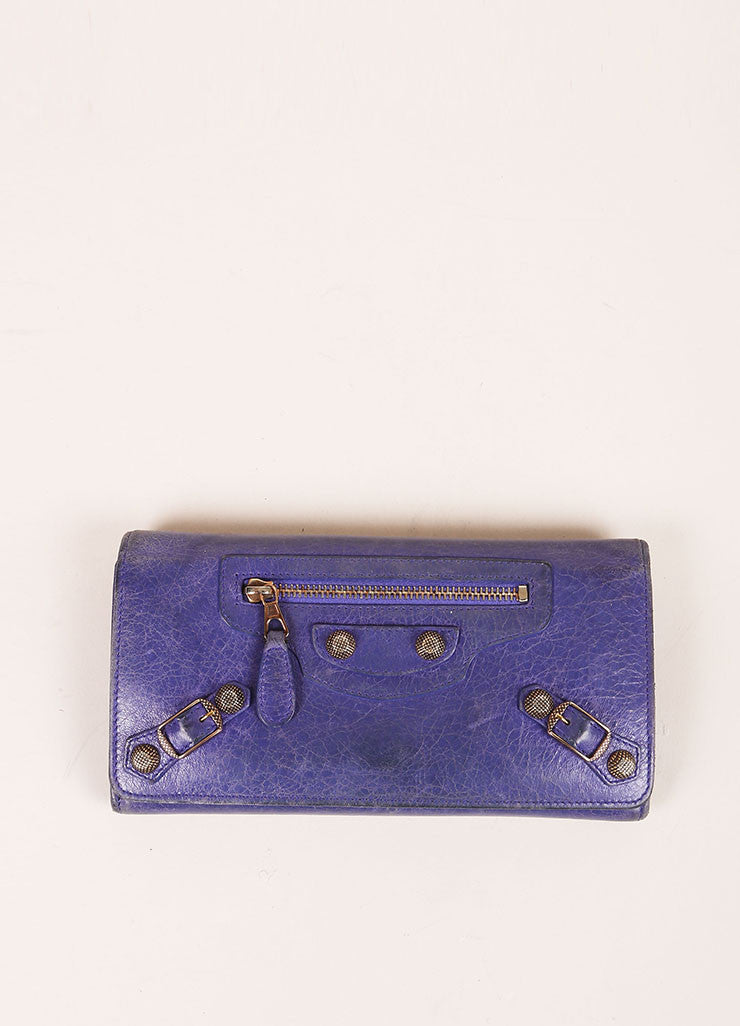 Balenciaga Purple Distressed Leather Studded Wallet Frontview