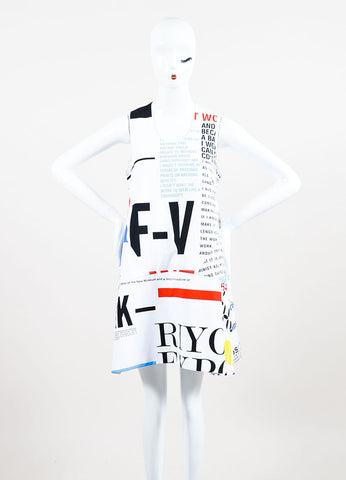 Balenciaga White, Red, and Yellow Cotton Graphic Print Special Edition Sleeveless Dress Frontview