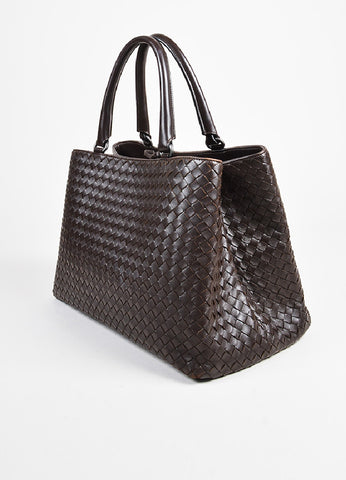 "Bottega Veneta Brown Intrecciato Leather ""Milano"" Tote Bag Sideview"