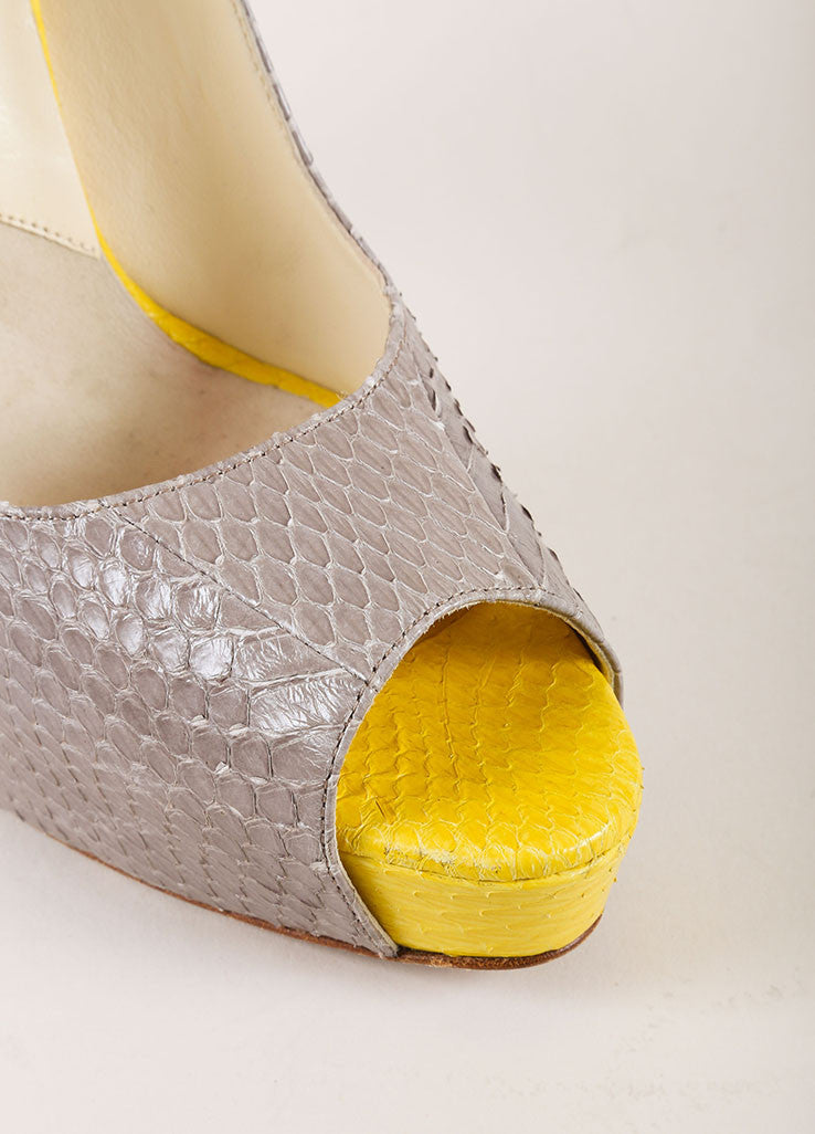 Brian Atwood Grey and Yellow Snakeskin Leather Peep Toe Platform Pumps Detail