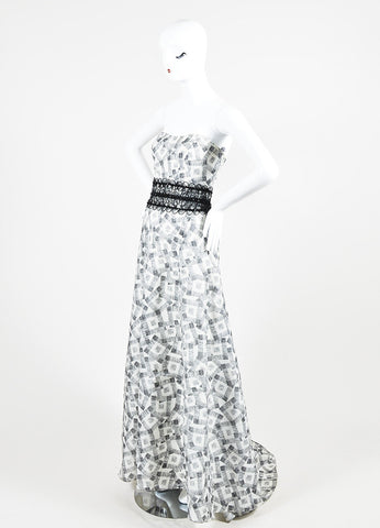 Black and White Carolina Herrera Silk Square Print Strapless Evening Gown Sideview