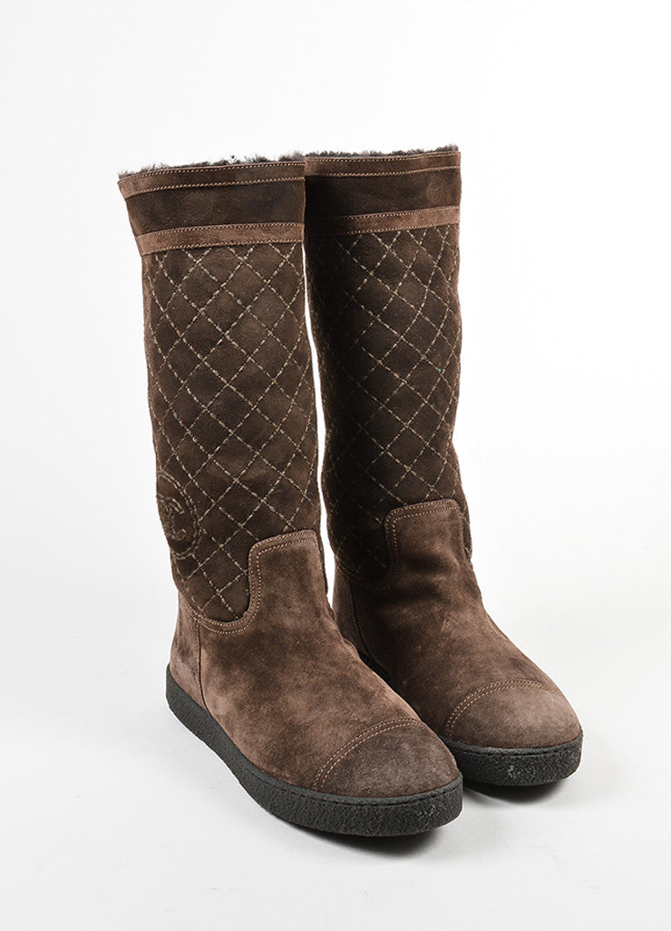 Chanel Brown Shearling Lined Quilted 'CC' Logo Winter Boots Frontview