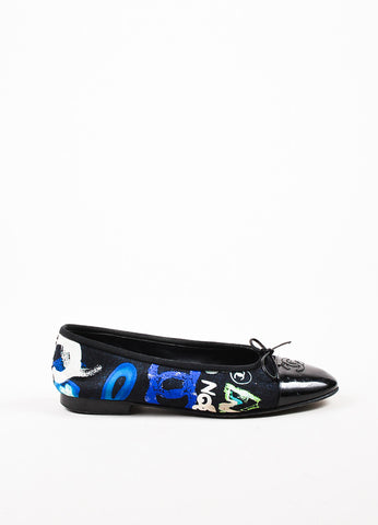 Chanel Black and Blue Printed Canvas and Patent Leather 'CC' Cap Toe Flats Sideview