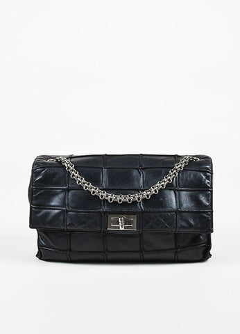 "Chanel Black Leather ""Patchwork Mademoiselle"" Chain Shoulder Bag frontview"