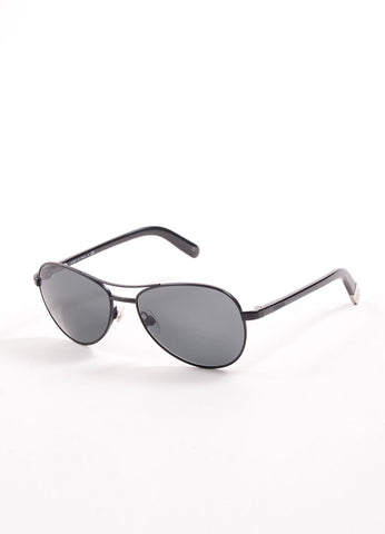 "Chanel Black Metal ""4201"" Aviator Sunglasses Sideview"