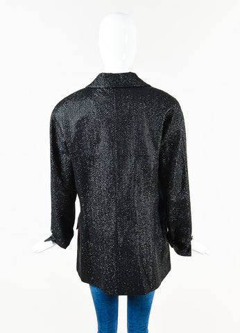 Chanel Black Metallic Silk Blend Coated Tweed Single Button Blazer Back
