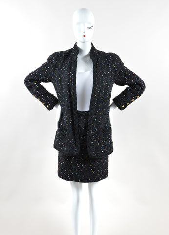 Chanel Black and Multicolor Speckled Tweed Jacket Pencil Skirt Suit Frontview