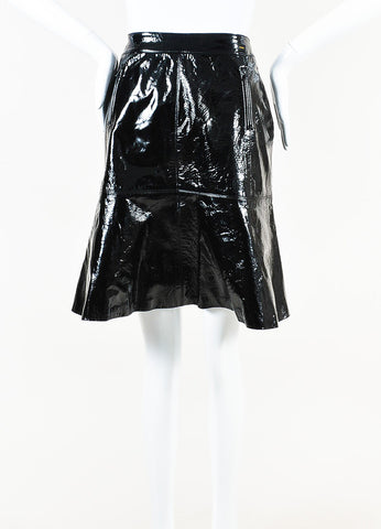 Chanel Black Patent Leather Fit Flare Skirt Front