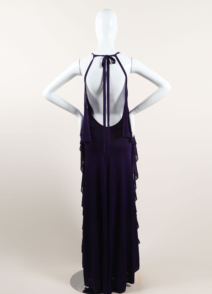 Chanel Purple Woven Knit Ruffle Draped Full Length Halter Dress Backview
