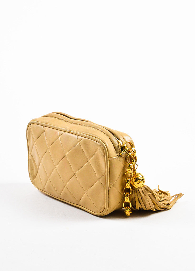 Chanel Tan Gold Tone Lambskin Leather Quilted 'CC' Tassel Shoulder Bag Sideview