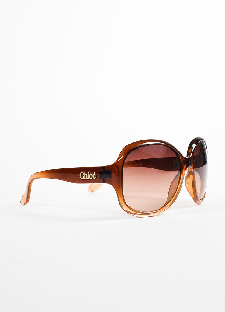 Chloe Taupe Mauve Ombre Oversized Sunglasses Sideview