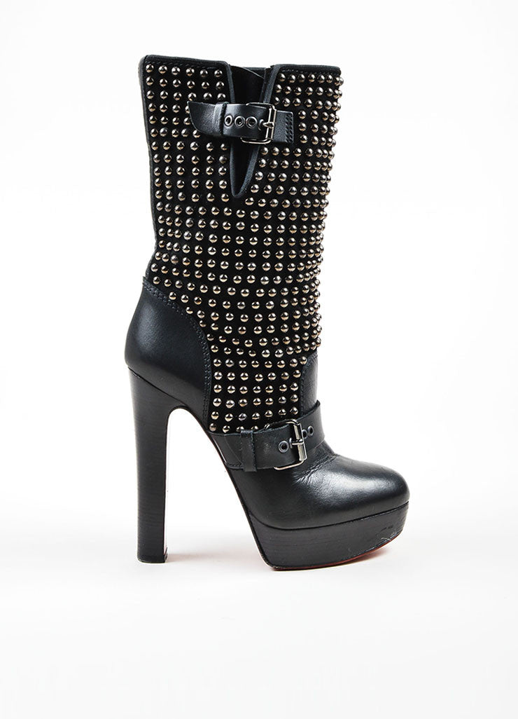 "Black Christian Louboutin Suede Leather Studded ""Marisa"" Boots Sideview"