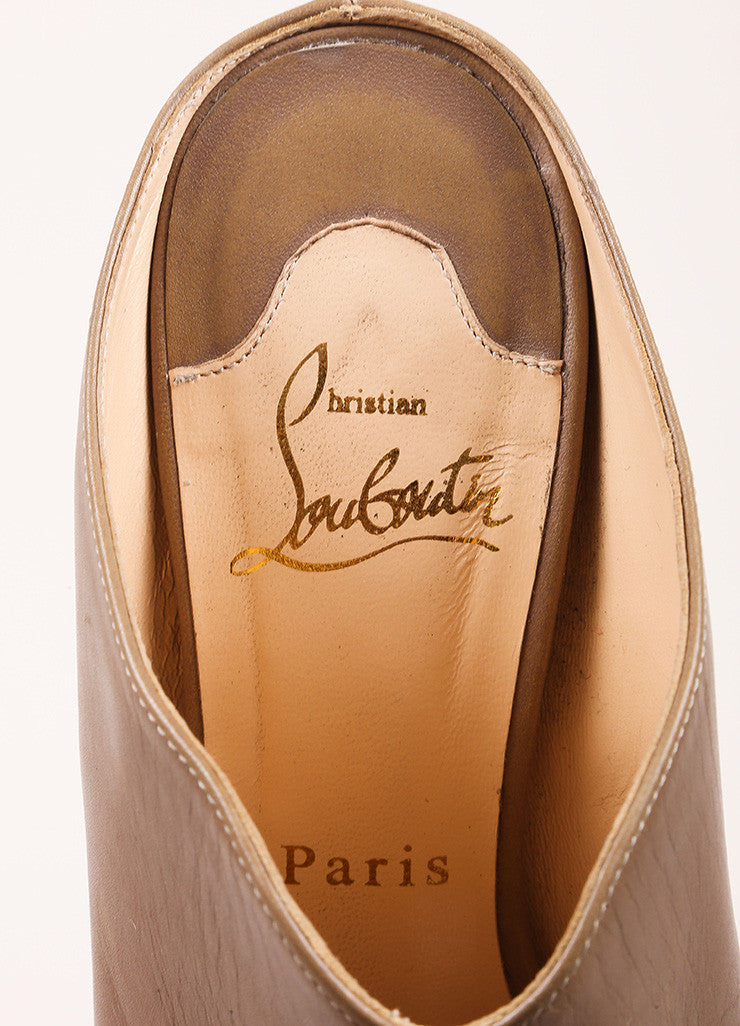 Christian Louboutin Taupe and Ash Brown Peep Toe Stacked Heel Leather Mules Brand