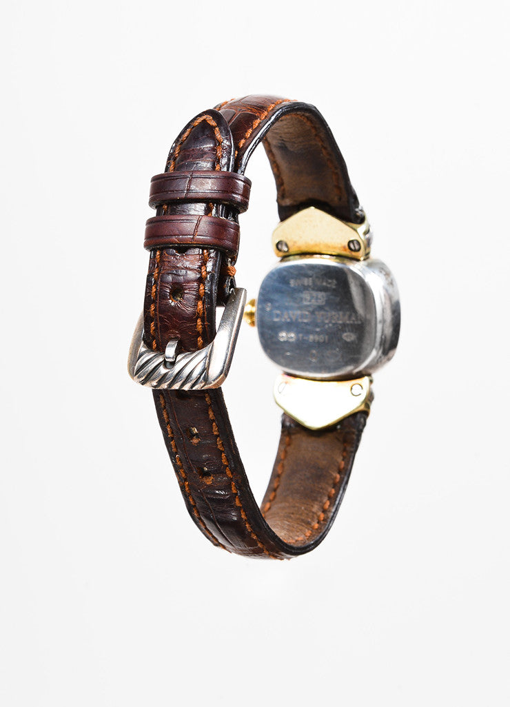 "David Yurman Sterling Silver, 14K Gold, and Brown Crocodile ""Renaissance"" Watch Backview"