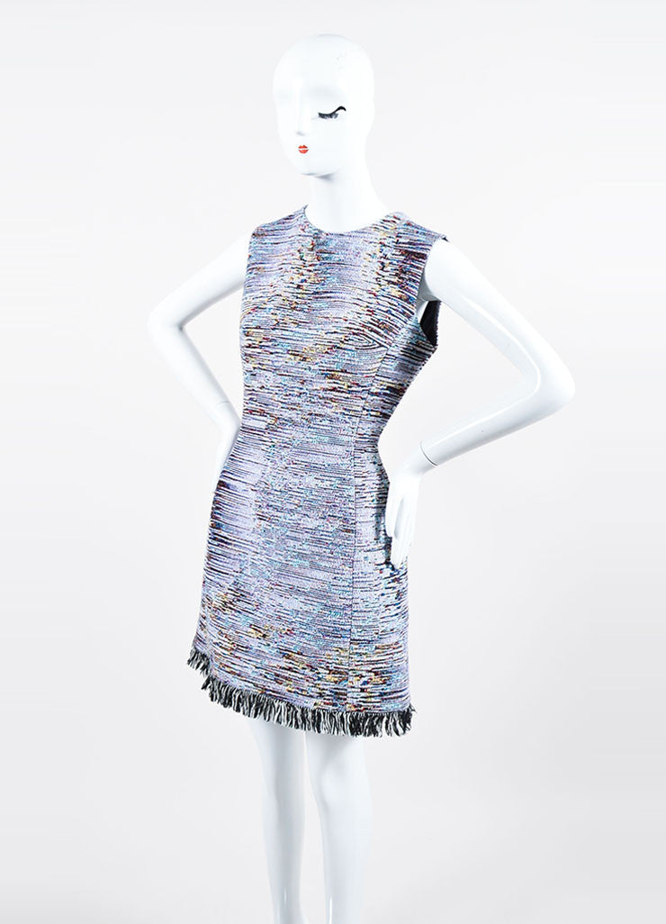 Multicolor Christian Dior Woven Tweed Fringe Sleeveless Dress Sideview