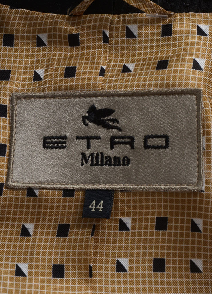 Etro New With Tags Black, White, and Brown Woven Wool and Silk Blend Printed Jacket Brand