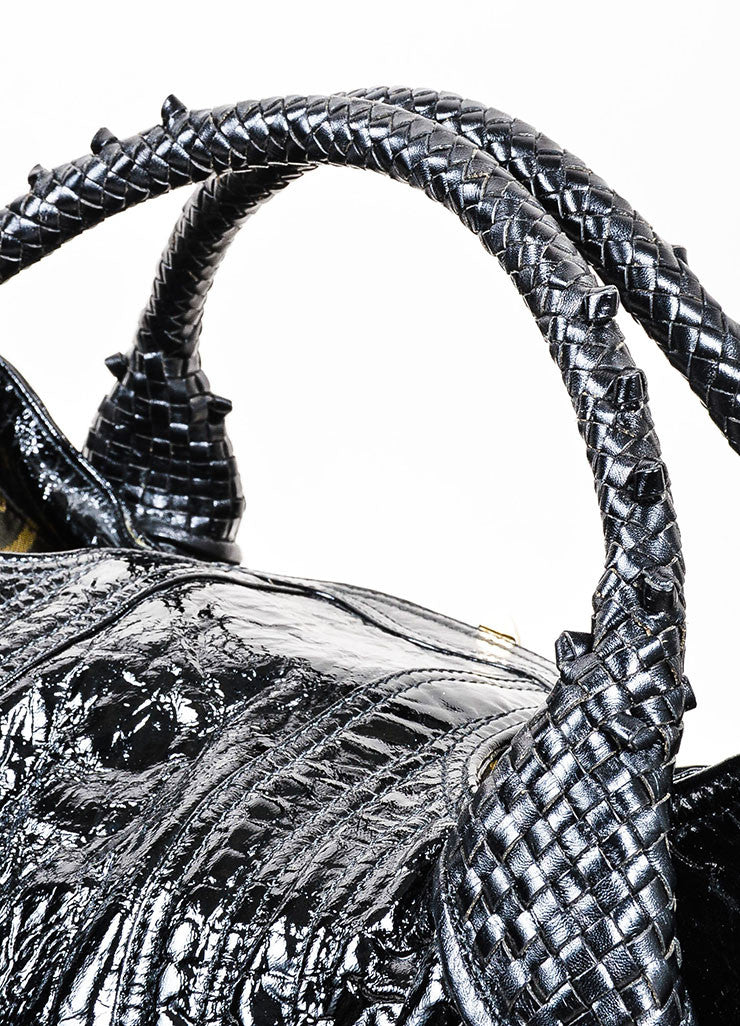 "Black Fendi Patent Leather Embossed ""Spy"" Satchel Bag Detail 2"