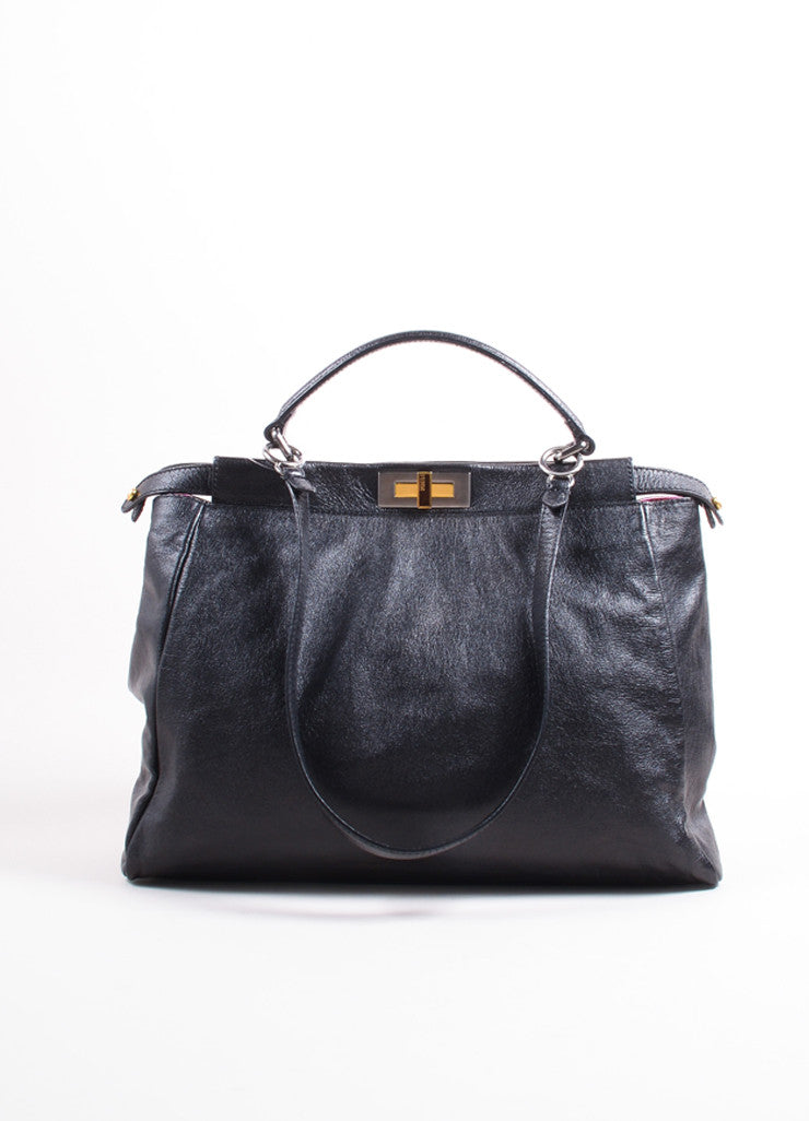 "Fendi Black Kid Leather ""Peekaboo"" Shoulder Strap Tote Bag Frontview"