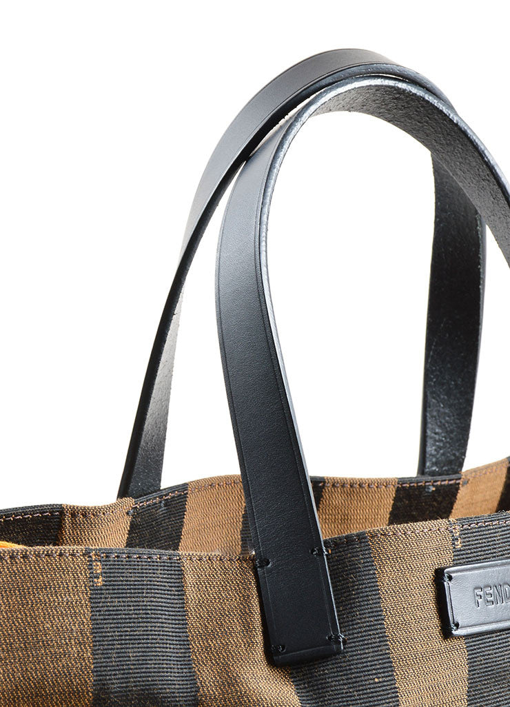 "Fendi Brown and Yellow Canvas Striped ""Pequin"" Small Shopping Tote Bag Detail 2"