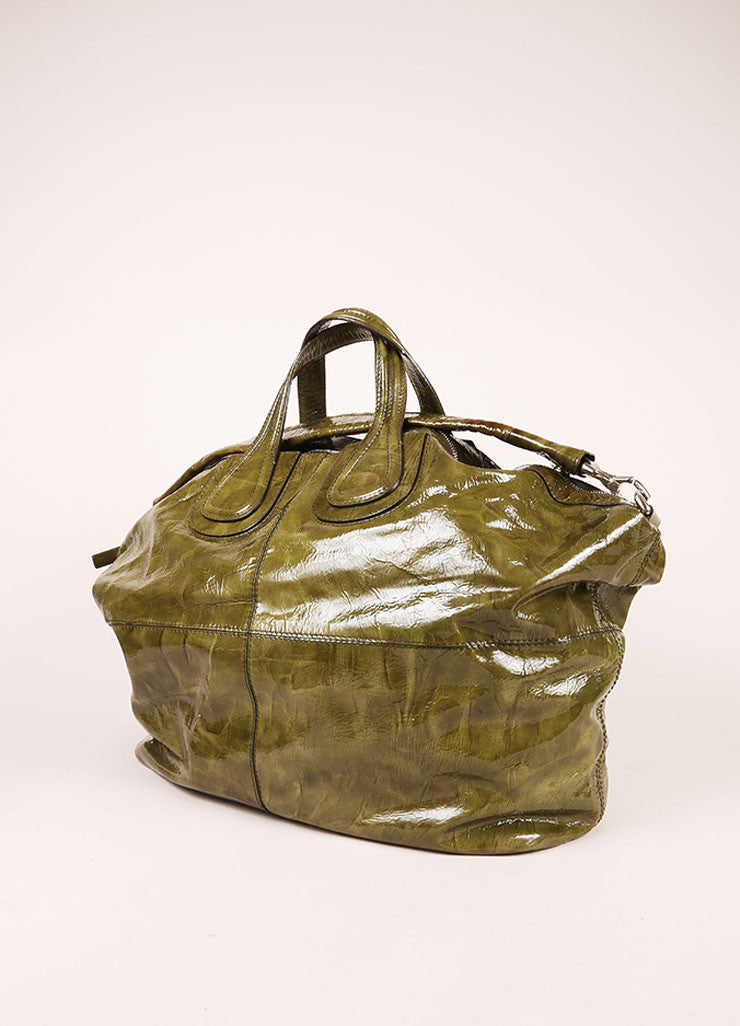 "Givenchy Green Crinkle Patent Leather Large ""Nightingale"" Tote Bag Backview"