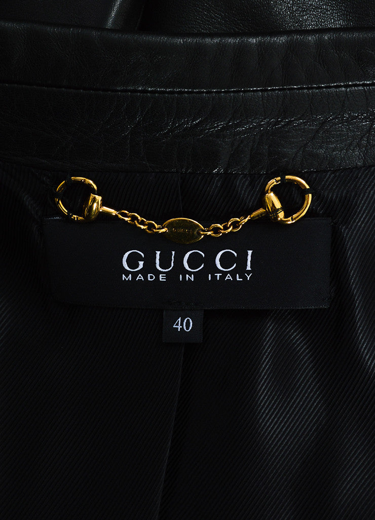 Gucci Black Leather & Suede Trimmed Dual Button Jacket Brand