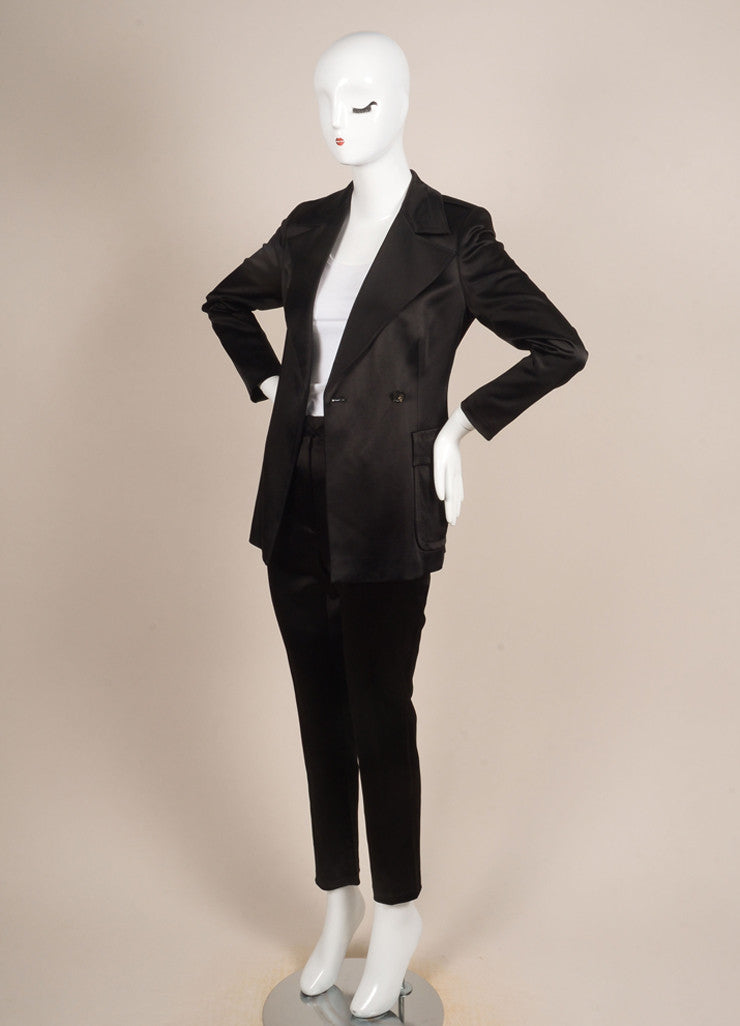 Gucci Black Satin Longline Jacket and Straight Leg Trouser Pant Suit Sideview