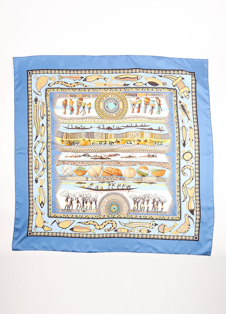 "Hermes Blue and tan Silk Layered Print ""Vie du Fleuve"" Scarf Frontview"