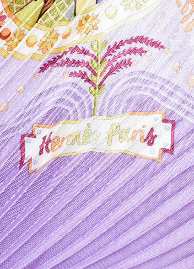 "Hermes Lavender and Multicolor Silk Pleated ""Escales Mediterraneennes"" Plisse Scarf Brand"