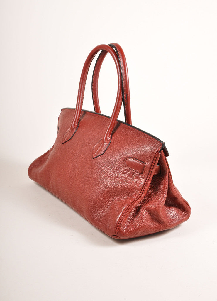 "Hermes Red ""Rouge H"" and Silver Toned Clemence Leather 42cm Shoulder Birkin Bag Sideview"