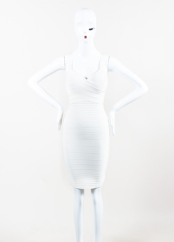 Cream Herve Leger Stretch Knit Bandage Bodycon Dress Front