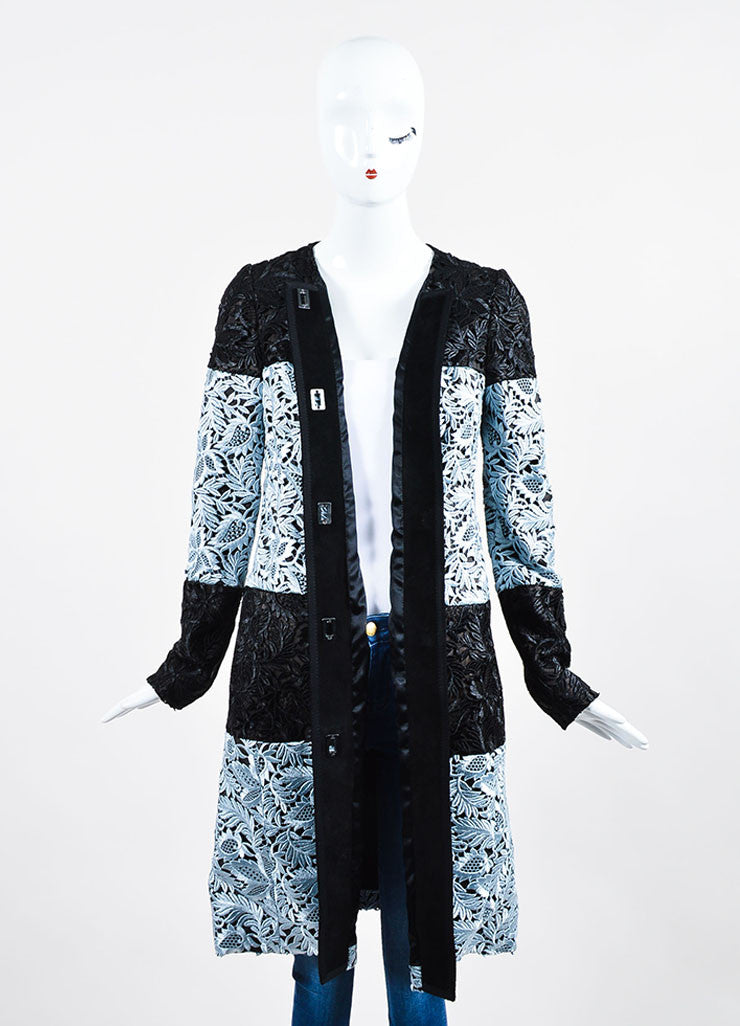 Black and Light Blue J. Mendel  Suede Lace Overlay Long Coat Frontview