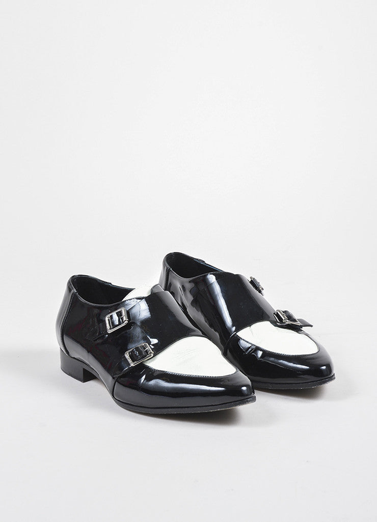 "Jimmy Choo Black and White Patent Leather Monk Strap ""Mardi"" Loafers Frontview"