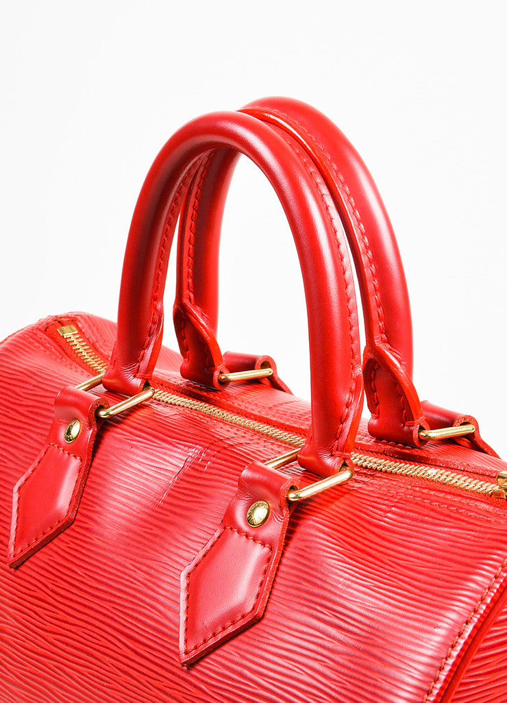 "Louis Vuitton Red Epi Leather ""Speedy 25"" Handbag Detail 2"