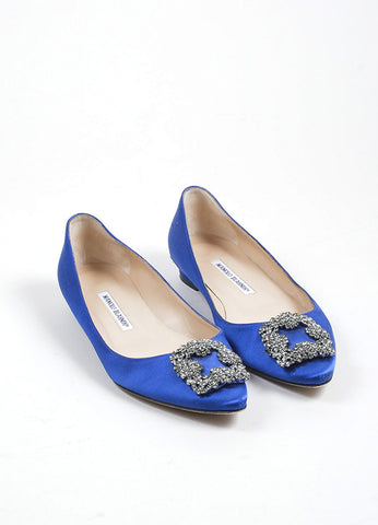 "Blue Manolo Blahnik Satin ""Hangisi"" Point Toe Rhinestone Buckle Flats Frontview"