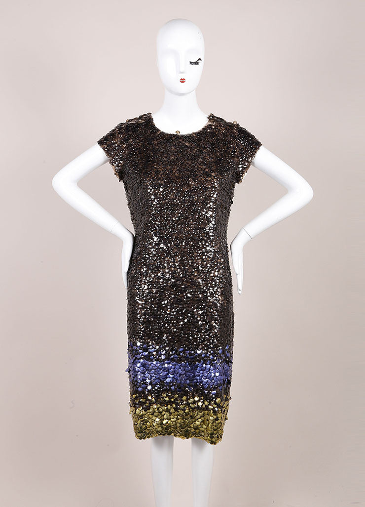 Oscar de la Renta New With Tags Grey, Purple, and Gold Silk Ombre Paillette Dress Frontview