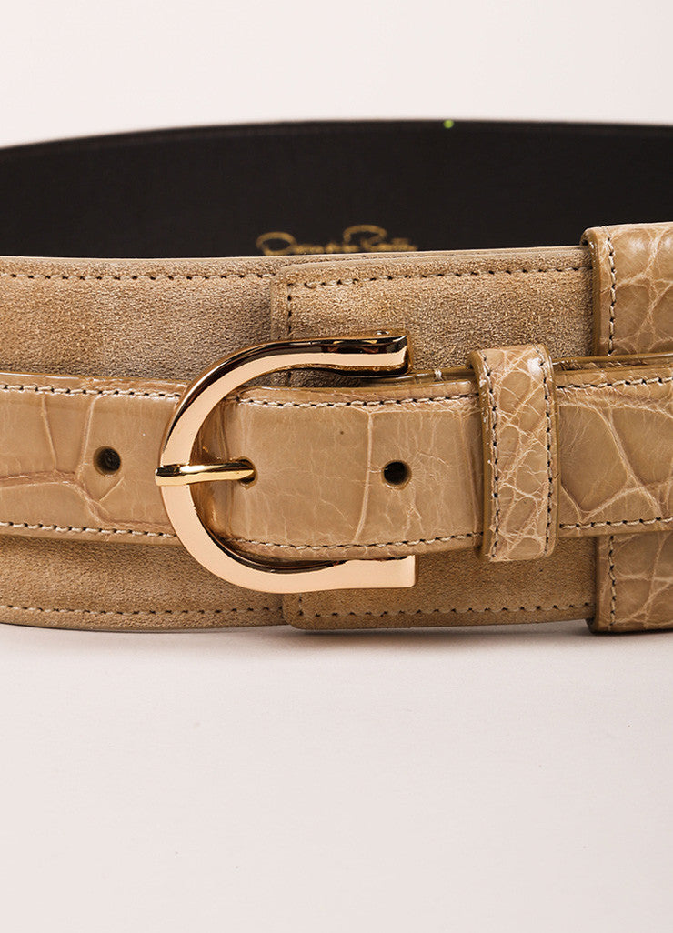 Oscar de la Renta Tan Brown Suede and Alligator Leather Buckled Belt  Detail