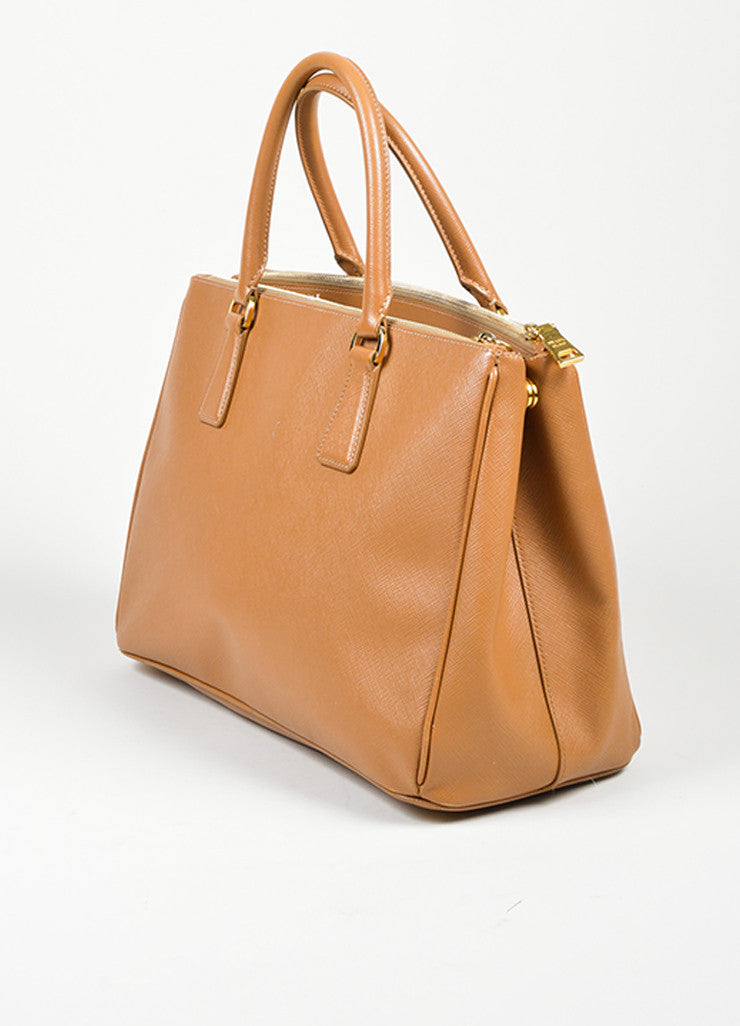"Tan Prada Saffiano Leather ""Gardener's"" Tote Bag Sideview"
