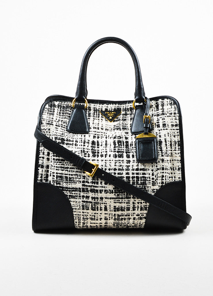 "Prada Black and Cream Tweed Saffiano Leather Trim ""North South"" Tote Bag Frontview"