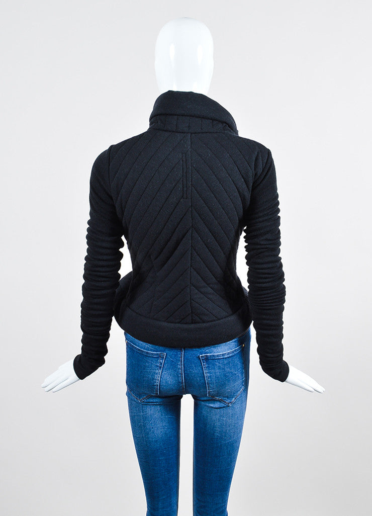 Black Rick Owens Lilies Quilted Tie Belt Jacket Backview
