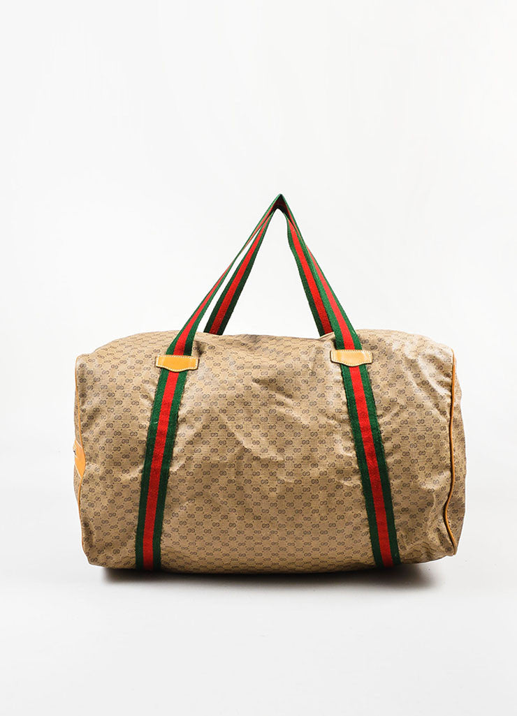 Gucci Brown Coated Canvas Leather Trim 'GG' Monogram Striped Duffel Bag Frontview