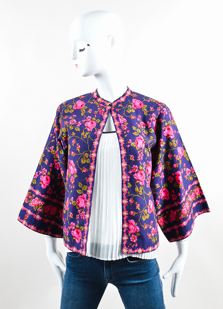 Lanvin Navy and Pink Rose Print Kimono Jacket Frontview 2