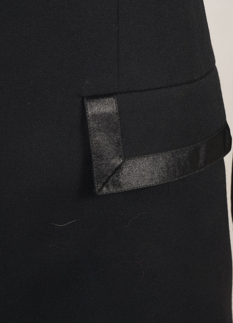 State of Claude Montana Black Wool Tailored Zip Long Jacket Detail