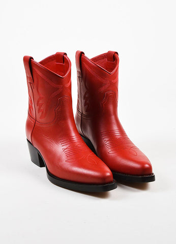 Red Leather Valentino Top Stitch Western Pointed Booties Front
