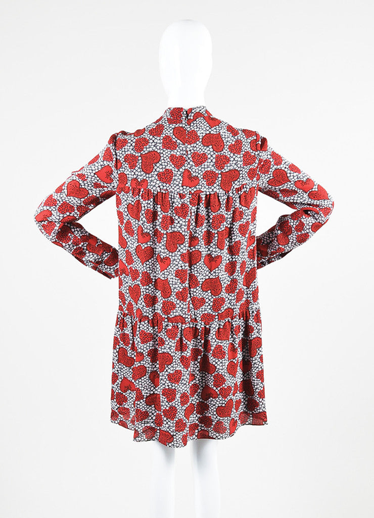 Red 	Valentino Silk Floral Heart Print Tie Long Sleeve Dress Backview